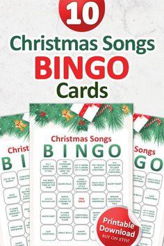 Printable Christmas Games, Fun Christmas Games, Christmas Favors, Christmas Bows, Christmas Gift Wrapping, Christmas Music, Christmas Cards, Music Bingo, Bingo Set