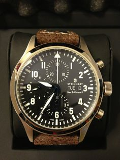 "STEINHART ""Nav B-Chrono II with leather strap"" 44mm IWC Pilot Flieger Submariner 