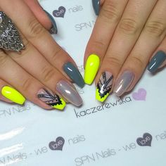 @spnnails ▪ szary: 503 Black Tulip + 502 My wedding dress ▪ 704 Neon Lemon ▪ 511 Nude + syrenka  #spnteam #paznokciehybrydowe #paznokciezelowe #nailswag #nailsofinstagram #uvgel #nails #paznokcie #spnnails #neonnails #ballerinanails #coffinnails