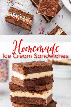 Homemade Ice Cream Sandwiches - Delicious chocolate cookies offer a delectable top and base, with a creamy vanilla ice cream gracing the middle. If you have a little bit of extra time, skip the store bought and make these instead! Perfect for a summer treat or snack and a fun one to boot! #icecreamsandwich #icecream | See this and other delicious recipes at TheSeasideBaker.com Baker Recipes, Healthy Dessert Recipes, Delicious Recipes, Easy Recipes, Snack Recipes, Frozen Desserts, Summer Desserts, Frozen Treats, Fun Desserts