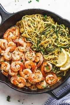 10-Minute Lemon Garlic Butter Shrimp with Zucchini Noodles