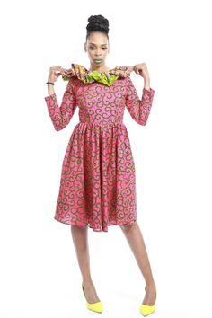 Pink Peponi African Dress  For the daring fashionista. This is the one dress to rock any day any season. Green and Pink never looked better than this handmade African Inspired Fashion.