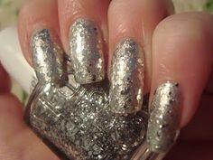 Silver Tinsel, Glitter, Sparkle Nail Art Manicure Follow at paintthatnail.com