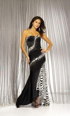 black-white-prom-dress-unique-print-zebra-print