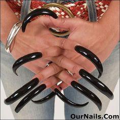 Perfect Nails, Gorgeous Nails, Toe Nails, Coffin Nails, Long Black Nails, Curved Nails, Long Fingernails, Long Acrylic Nails, Latex Fashion