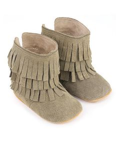 Augusta Baby Ash Fringe Savannah Suede Booties | zulily