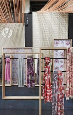 FRAAS, The Scarf Company, Germany, exhibition stand at Bread&Butter, close-up display stand, pinned by Ton van der Veer