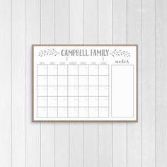 Trendy farmhouse style dry erase calendar printable. Organize your household in style. :)