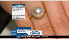 Akoya White Pearl & 0.10 ctw Diamond 18K Yellow Gold 3.80gr Ring Size 6.25  If you love being surrounded by exquisite jewelry then this is your dream destination. Gem Shopping Network is the most exquisite viewing experience on TV. Now available on live streaming and on apps.