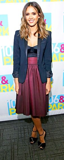 "Jessica Alba paired a satin bustier and The Kooples blazer with a Katharine Kidd burgundy skirt and Giuseppe Zanotti sandals for her ""106 & Park"" appearance."