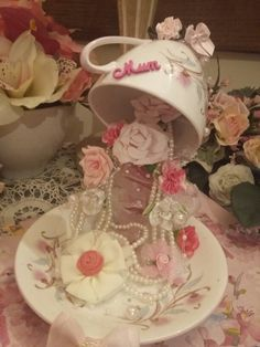 Floating tea cups on a decoupaged board £16