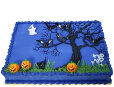 Midnight Blue Halloween Sheet Cake. Would be cute for a kids' party.