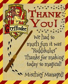 Printable Thank You Card Harry Potter Inspired with Gryffindor, or House Crest and color border by edna Cumpleaños Harry Potter, Harry Potter Halloween, Harry Potter Wedding, Baby Shower Harry Potter, Hogwarts, Imprimibles Harry Potter, Harry Potter Classroom, Printable Thank You Cards, 11th Birthday