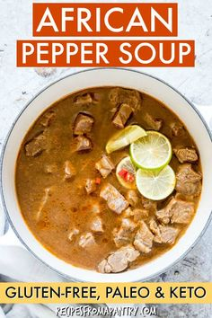 Dec 16 2019 - This popular African Pepper Soup is easy comforting full of flavour made with a few simple ingredients . Lunch Recipes, Soup Recipes, Breakfast Recipes, Cooking Recipes, Keto Recipes, Keto Foods, Breakfast Ideas, Free Recipes, African Pepper Soup Recipe