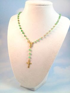 Love the variations of mint to green! Chrysoprase Gemstone Rosary Necklace Gold by divinitycollection, $95.00