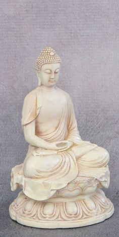 A serene statue in stone colored finish depicts the Buddha in calm meditation. Stone Buddha Statue, Meditating Buddha Statue, Buddha Statues, Calm Meditation, Buddha Meditation, Gautama Buddha, Buddha Buddhism, Bodhi Tree, Sculpture