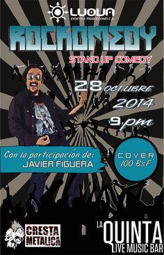 """Cresta Metálica Producciones » La Quinta Bar y Luova presenta: """"Stand Up Comedy Tributo al Rockero Venezolano"""" (Caracas) // 28-10-2014"""