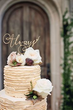 Look Like A Princess With These Gorgeous Villa Wedding Ideas Gold 'Always' wedding cake topper Autumn Wedding Cakes, Wedding Cake Fresh Flowers, Purple Wedding Cakes, Elegant Wedding Cakes, Beautiful Wedding Cakes, Diy Wedding, Wedding Ideas, Mauve Wedding, Elegant Cakes