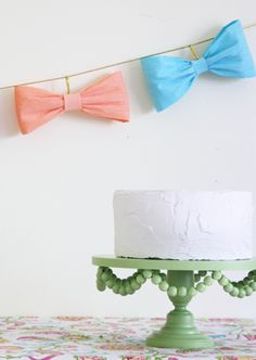 DIY Paper Bow Garland. For a gender reveal party! Start patterned paper for twinkle and beau there's combined?