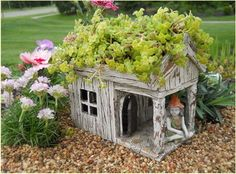 FAIRY House for the YARD or    for the Porch. Give our LITTLE People a place of their    own ! WE all BELIEVE in  FAIRies ! A saucer of MILK out     side will attract them to our Garden.
