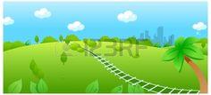 Diese Abbildung ist eine gemeinsame Naturlandschaft. Railroad Track über grüne Landschaft Illustration