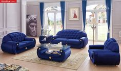 ESF Giza Living Room Set In Dark Blue The ESF Giza Dark Blue Leather Living  Room