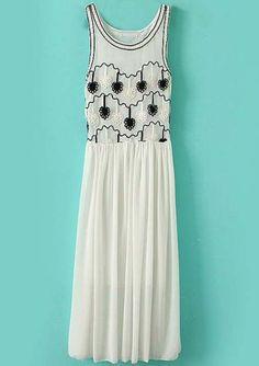 White Sleeveless Mesh Yoke Embroidery Sundress