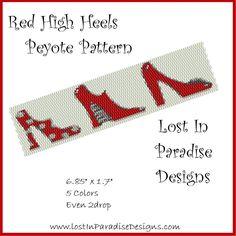 Red High Heels Peyote Bracelet Pattern