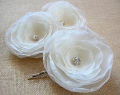 Ivory Bridal Wedding Hair Flower Clip Wedding by GlamFloralBride