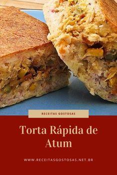 Receita de Torta Rápida de Atum Pork Chops, Mashed Potatoes, Mango, Food And Drink, Homemade, Cake, Ethnic Recipes, Jr, Breads