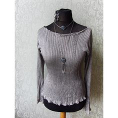 Upcycled Silver Frayed Tshirt Punk Shredded Shirt Eco Friendly... ($42) ❤ liked on Polyvore