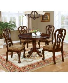 Furniture of America Elana 5 Pieces Traditional Brown Cherry Finish Round Dining Table Set Round Dining Room Sets, Round Pedestal Dining Table, Dining Table In Kitchen, Extendable Dining Table, Dining Chair Set, Dining Room Design, Wood Wood, Wood Veneer, Chair Backs