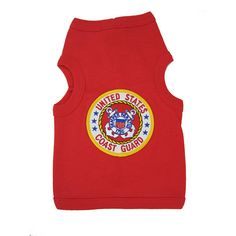U.S. Coast Guard Crest Dog Tank Top - Red - https://barkavenuebycucciolini.ca/product/u-s-coast-guard-crest-dog-tank-top-red/