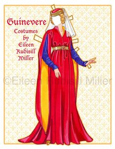 Muñeca de papel de Guinevere Queen por PaperDollsbyERMiller en Etsy