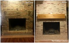 Before and After: Brick Fireplace Mortar Washing (Similar to White/Lime Wash, significantly cheaper and easier!) Tutorial from The Chatham Collective