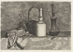 Natura morte con il panneggio a sinistra (Still Life with a Bread Basket on the Left) by Giorgio Morandi A work from the collections of the de Young and Legion of Honor museums of San Francisco, CA. Still Life Drawing, Painting Still Life, Italian Artist, Drawing Techniques, Be Still, Painting & Drawing, Modern Art, Fine Art, Black And White