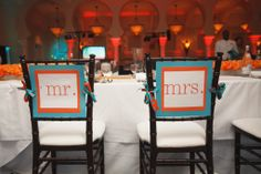 Head Table Mr./Mrs. Chairs - Orange and Turquoise Goldfish Themed Wedding at the Renaissance Vinoy – Carrie Wildes Photography