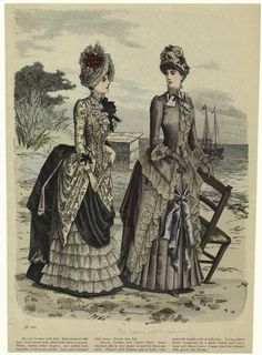 Fashion illustration, 1885, Sea-side costume with sash ; Sea-side costume with paletot waist.