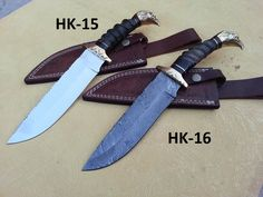 Damascus & stainless steel Hunting Knives HK-15-16  Open Length: 13 Inches Blade Length: 7 Inches Handle Length: 6 Inches Price: $190USD Handle made of Natural wood, Bull horn Brass IN Damascus and J2 Steel FREE SHIPPING