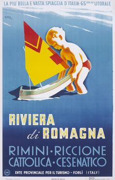 1948 Romagna Riviera, Italy vintage travel poster