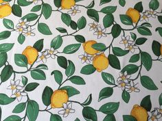 Tablecloth white green yellow lemonstable decoration by SiKriDream