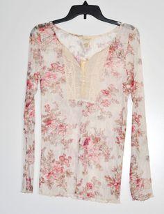 Denim & Supply Ralph Lauren Women Top Floral Print Crochet Bib Henley size L NWT #RalphLauren #Blouse