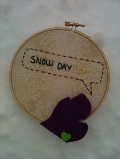 michigan snow day embroidery hoop
