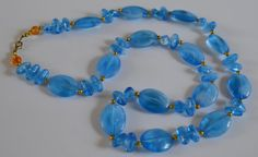 60s Smoky Blue Bead Necklace by VeryVintageClothing on Etsy, £10.00