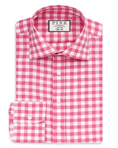 A classic check pattern gives this dress shirt from Thomas Pink a versatile go-to style. | Linen/cotton | Machine wash | Made in India | Fits true to size but designed to be more tailored than Thomas
