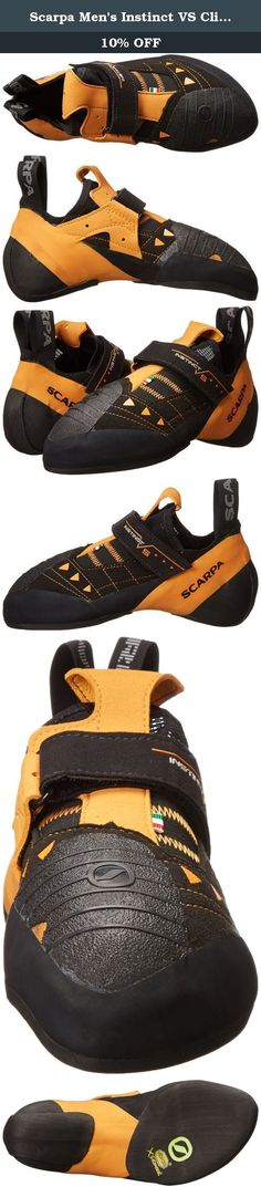 Scarpa Men's Instinct VS Climbing Shoe,Black,41.5 EU/8.5 M US. Just a tad softer than the instinct, we tune up the slipper design with a single strap and vibram® xs edge rubber to resist deformation when standing on micro-flakes and edges. The instinct vs spans the performance arc from slabby boulder problems to overhanging gym routes. Sensitivity, with just enough power from the bi-tension randing for standing on dimes; these do it all.