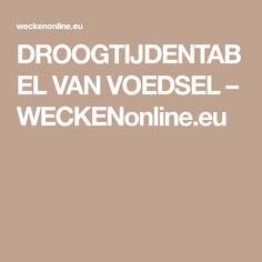 DROOGTIJDENTABEL VAN VOEDSEL – WECKENonline.eu