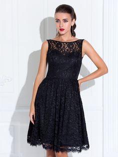 TS Couture Wedding Party / Cocktail Party / Dress - Black Plus Sizes / Petite A-line Jewel Knee-length Lace - USD $ 74.79