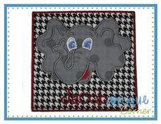 Elephant Head for Name Patch Applique Design