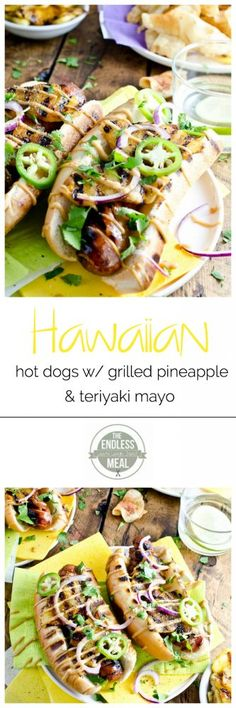 Hawaiian Hot Dogs with Grilled Pineapple and Teriyaki Mayo {can be easily veganized or made gluten free! Dog Recipes, Cooking Recipes, Healthy Recipes, Healthy Food, Sandwich Recipes, Grilling Recipes, Bread Recipes, Hot Dogs, Tasty
